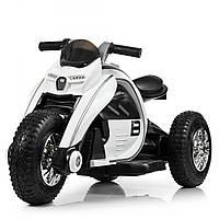 Детский трехколесный мотоцикл с резиновыми колесами Bambi M 4134A-1 белый