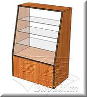 Прилавок стеклянный скошенный, прилавок наклонный, торговый прилавок, фото 1