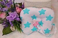 Детская ортопедическая подушка с держателем для соски Тм Миля,подушка-бабочка
