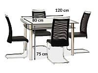 Стол Signal RODI 120x80см прозрачный/ черная полка