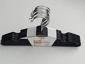Плечики  тремпеля детские металлические в силиконовом покрытии черного цвета, длина 30 см, в упаковке 10 штук, фото 2