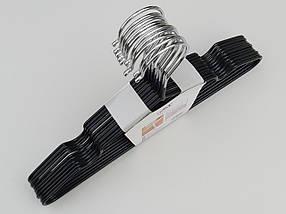 Плечики  тремпеля детские металлические в силиконовом покрытии черного цвета, длина 30 см, в упаковке 10 штук, фото 3