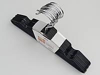 Плечики  тремпеля детские металлические в силиконовом покрытии черного цвета, длина 30 см, в упаковке 10 штук