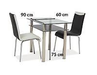 Стол Signal MADRAS 90x60см прозрачный/хром