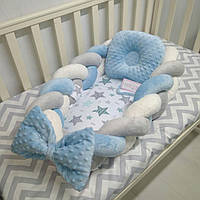 Кокон – гнездышко, коса-позиционер для новорожденных девочек и мальчиков Тм Миля Горошек