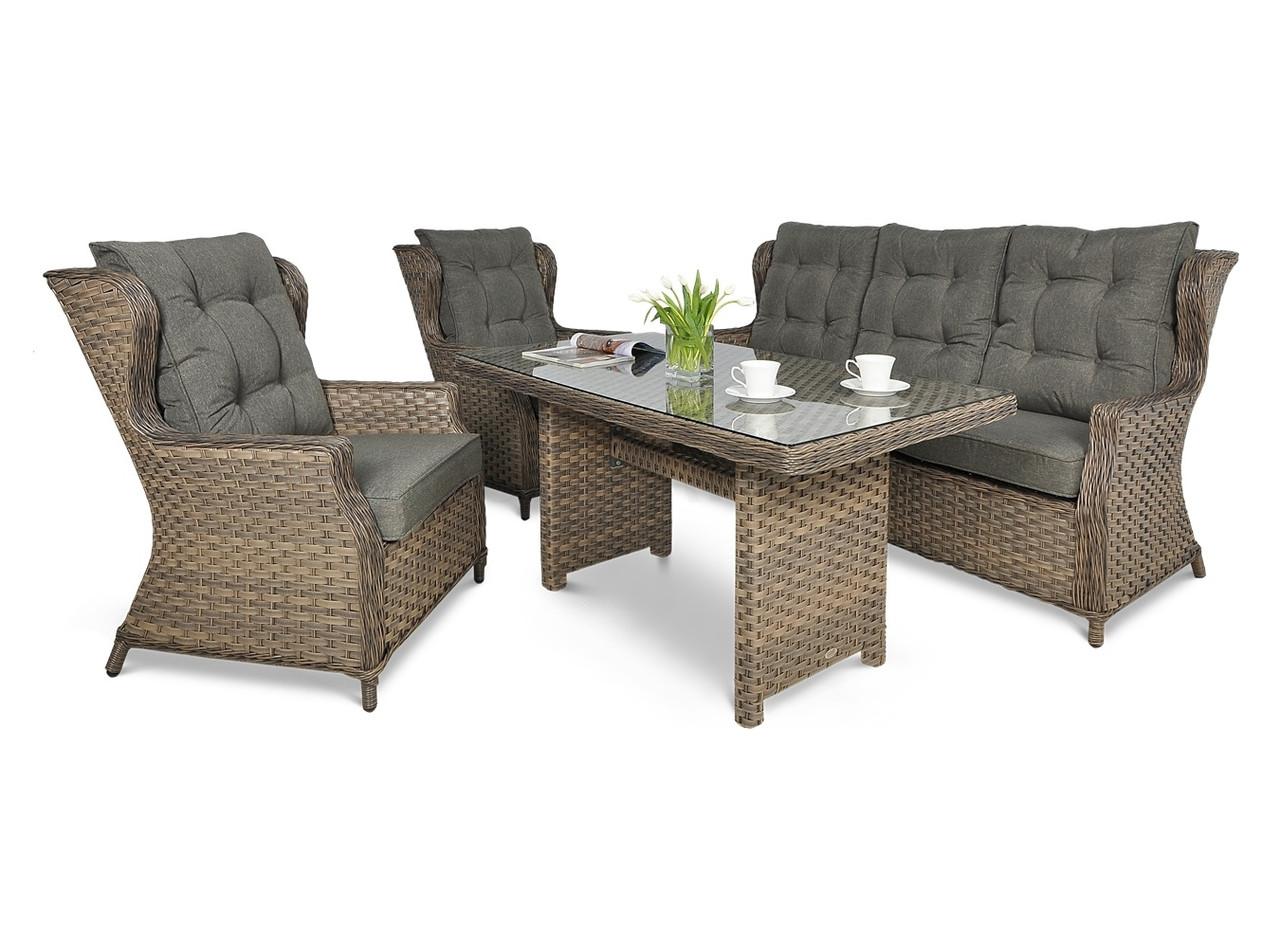 Комплект плетених меблів BILBAO DINING 3 MELANGE диван+крісла+стіл
