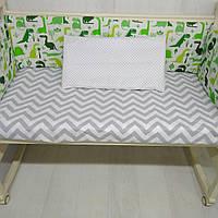 Бортики в детскую кроватку Т.М.Миля Зеленые дракончики 60см х 35 см в комплекте 6 шт. (506)