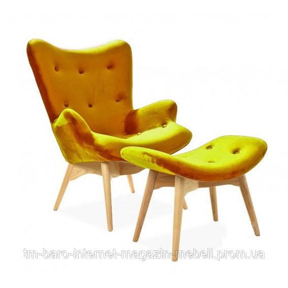 Кресло Флорино с отоманкой, желтый велюр, бук