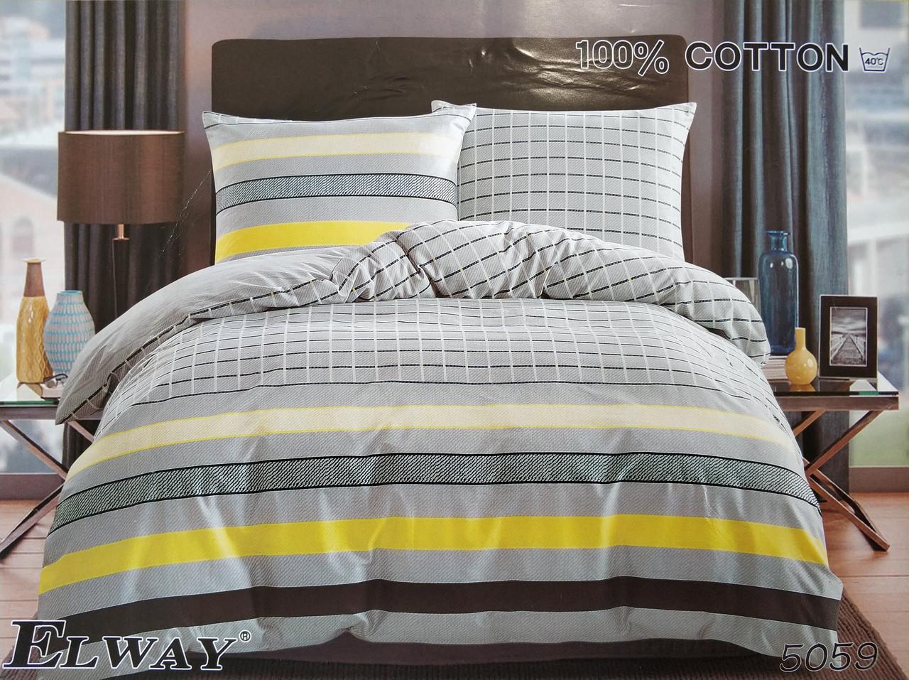 Сатиновое постельное белье семейное ELWAY 5059 «Полоска и клетка»