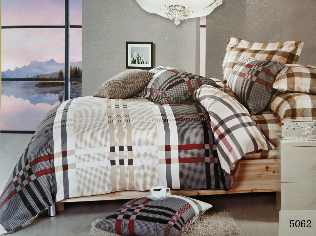 Сатиновое постельное белье семейное ELWAY 5062 «Клетка»