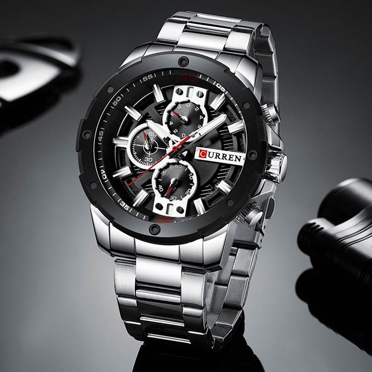 Мужские Часы Наручные Кварцевые Классические Curren (8336) 3 АТМ Серебряные с Черным Циферблатом