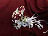 Свадебный букет-дублер бордовый с розовым и белым, фото 2
