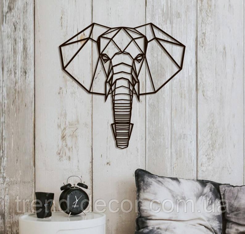 Декоративное металлическое панно слон .