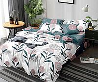 Сатиновое двуспальное постельное белье 180х220 (13443) хлопок 100% KRISPOL Украина