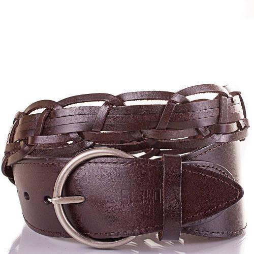 Женский плетёный кожаный ремень ETERNO (ЭТЕРНО) ETS269-10 темно-коричневый