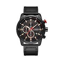 Мужские Часы Наручные Кварцевые Классические Curren (8291) 3 АТМ Черные с Черным Циферблатом