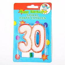 """Свічка в торт на день народження цифра """"30"""" ювілейна з блискітками 1322"""