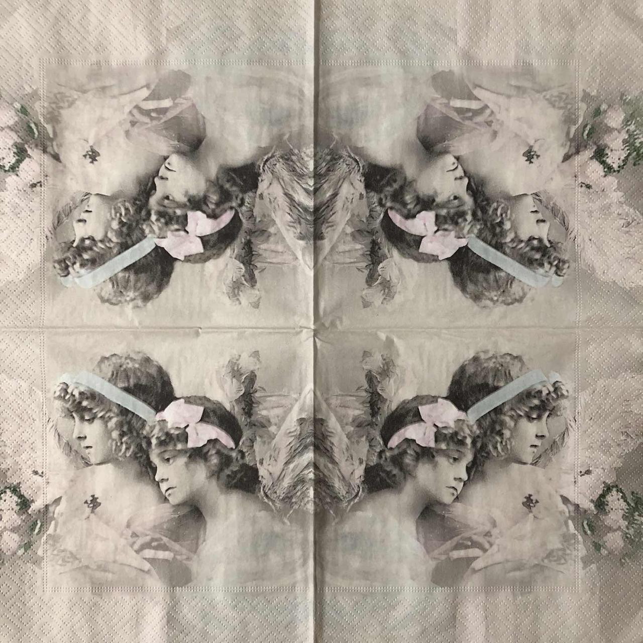 "Салфетка декупажная 33x33 см 30 ""Винтаж ретро Дети дружба ангелочки Старое фото"" Серветка для декупажу"