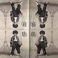 """Салфетка декупажная 33x33 см 30 """"Винтаж ретро Дети Мальчик в Париже штамп Старое фото"""" Серветка для декупажу"""