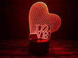 "3D светильник ночник ""Сердце LOVE""  3DTOYSLAMP, фото 2"