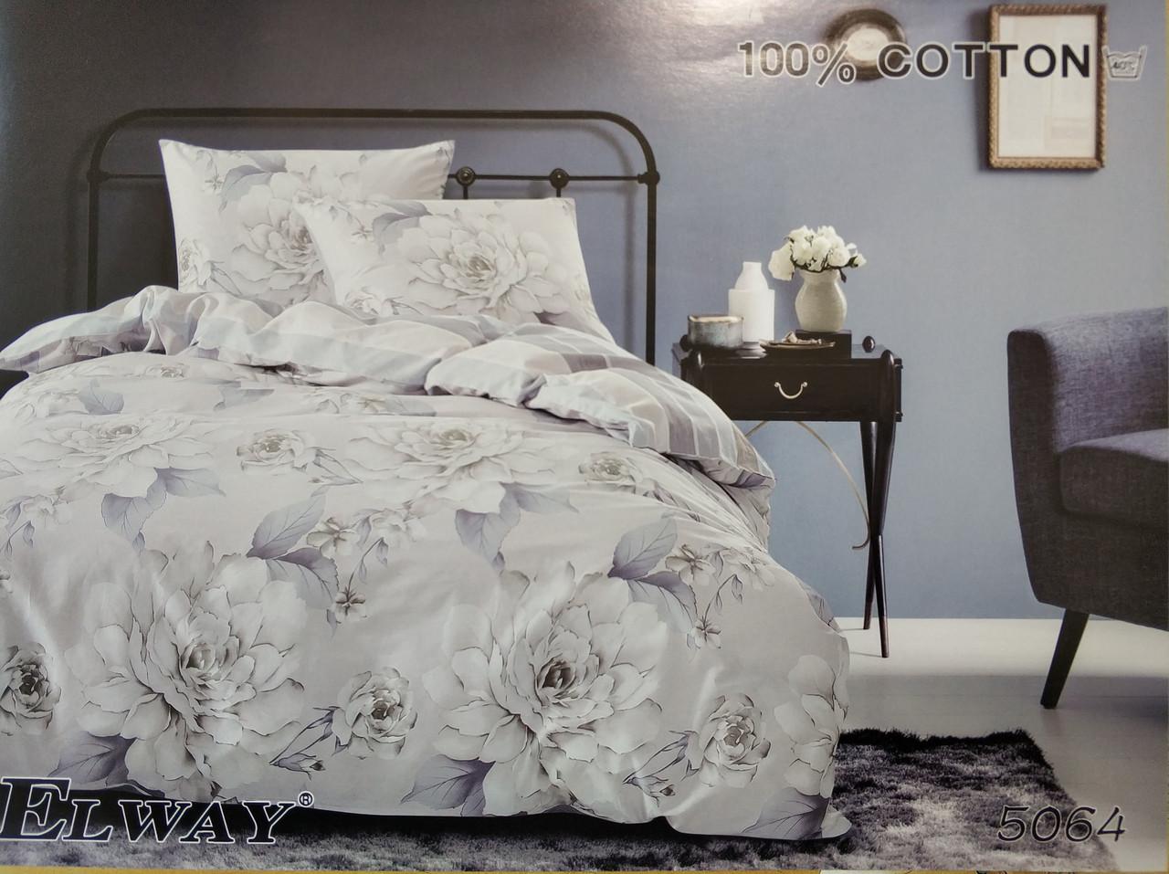 Сатиновое постельное белье семейное ELWAY 5064 «Розы»