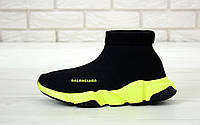 Кроссовки-носки женские мужские унисекс высокие черные с желтой подошвой Balenciaga Speed
