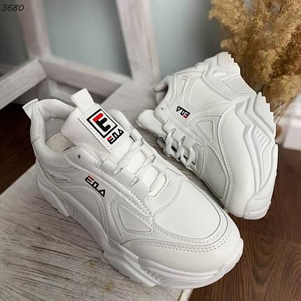 Белые кроссовки на высокой подошве женские, фото 2