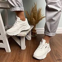 Белые кроссовки на высокой подошве женские, фото 3