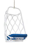 Подвесное кресло-качель Cruzo Лилия из натурального ротанга Белый с синим (kk87448)