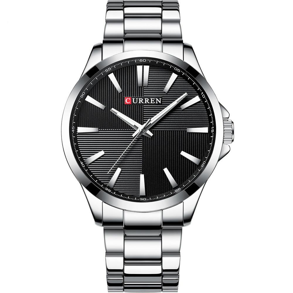 Мужские Часы Наручные Кварцевые Классические Curren (8322) 3 АТМ Серебряные с Черным Циферблатом