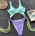 Женский совместный купальник с бахромой (в расцветках), фото 9