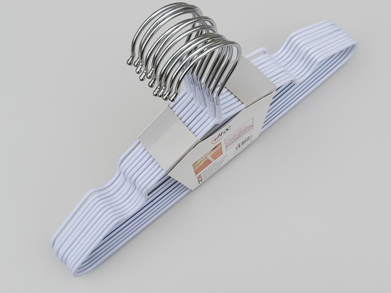 Длина 30 см. Плечики детские металлические в силиконовом покрытии белые, 10 штук в упаковке
