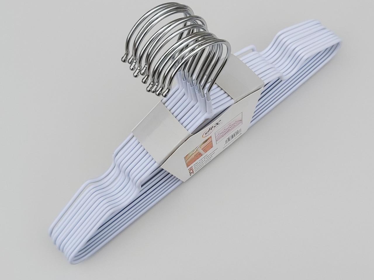 Плічка дитячі металеві в силіконовому покритті білі, 30 см, 10 штук в упаковці