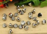 Шипы конусы пришивные 10х8 мм, серебро