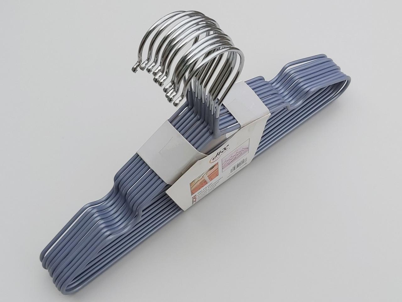 Плечики детские металлические в силиконовом покрытии серые, 30 см, 10 штук в упаковке