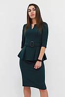 S (42-44) / Класичне жіноче плаття з баскою Venera, зелений