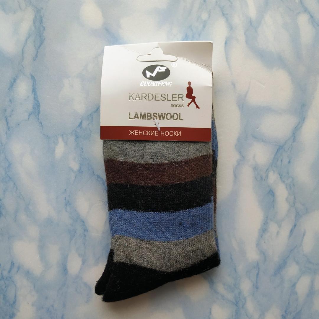 Шкарпетки жіночі вовняні в шоколадну смужку