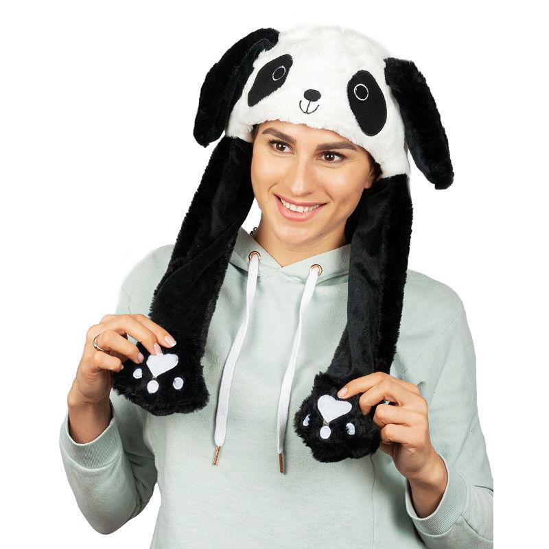 Шапка кигуруми светящаяся с двигающимися ушками (панда), зверошапка
