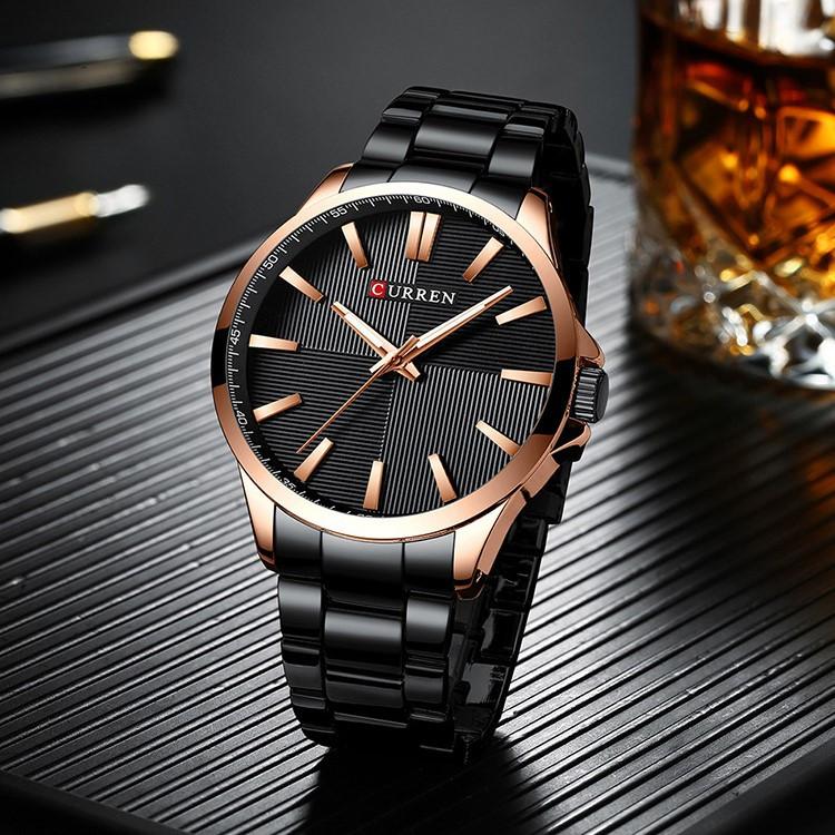 Мужские Часы Наручные Кварцевые Классические Curren (8322) 3 АТМ Золотые с Черным Циферблатом