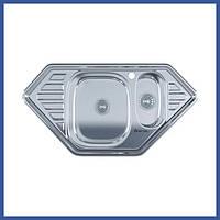 Трапециевидная кухонная мойка Imperial 9550-С Decor с доп чашей (IMP9550СDECD) из нержавеющей стали