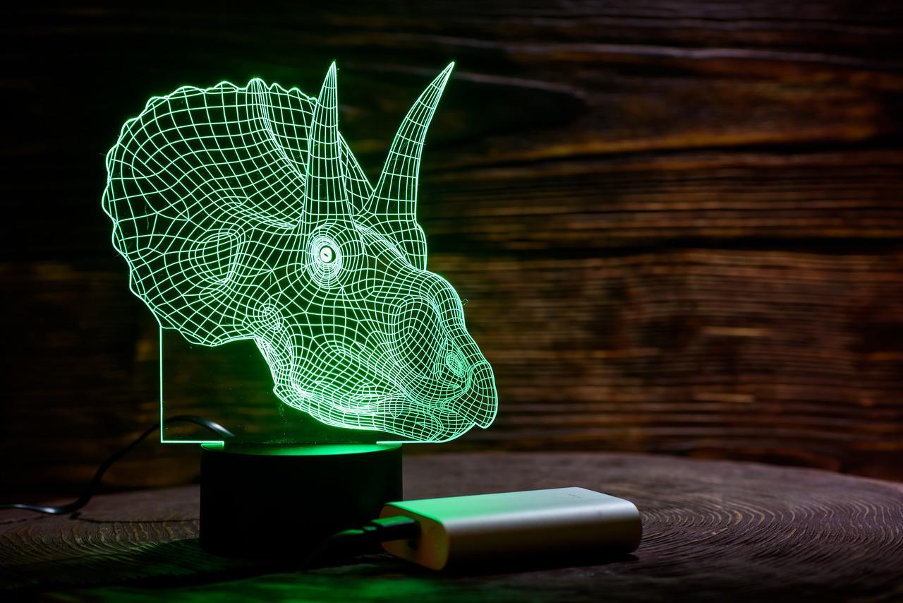 """3D светильник ночник """"Трицераптор""""  3DTOYSLAMP"""