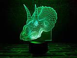 """3D светильник ночник """"Трицераптор""""  3DTOYSLAMP, фото 2"""