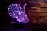 """3D светильник ночник """"Трицераптор""""  3DTOYSLAMP, фото 3"""