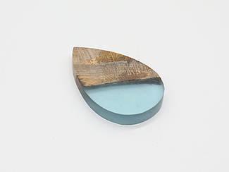 Эпоксидные подвески с деревом. Цвет голубой. 41х64мм
