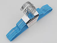 Плечики детские металлические в силиконовом покрытии голубого цвета, 29,5 см, 10 штук в упаковке