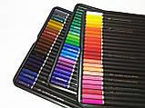 Набор цветных карандашей 72 цвета в металлическом пенале на 3 слота., фото 6