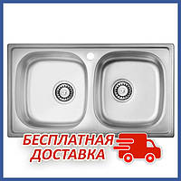 Прямоугольная кухонная мойка двойная ULA 5104 Satin (ULA5104SAT08) из нержавеющей стали