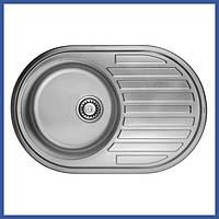 Мойка для кухни из нержавейки ULA 7108 U Micro Decor (ULA7108DEC08) овальная врезная с крылом