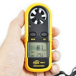 Цифровой анемометр Benetech GM-816 (0.7 - 30 м/с) (шаг измерения - 0.1м/с) с измерением температуры (mdr_5275)