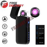 USB зажигалка электронная плазменная сенсорная Lighter, черная